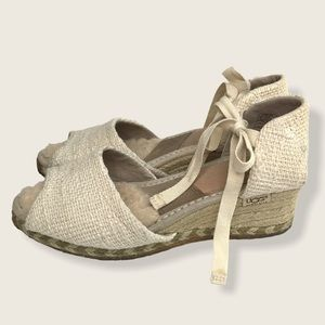 UGG Espadrille Size 6 Cream Natural Tie Ankle